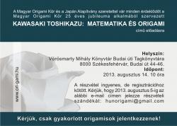 Kawasaki Toshikazu origami workshop - Székesfehérvár