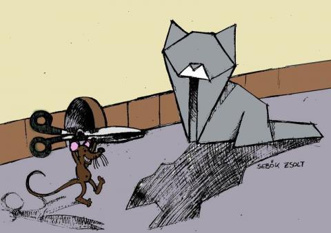 Sebők Zsolt: Macska és egér - karikatúra